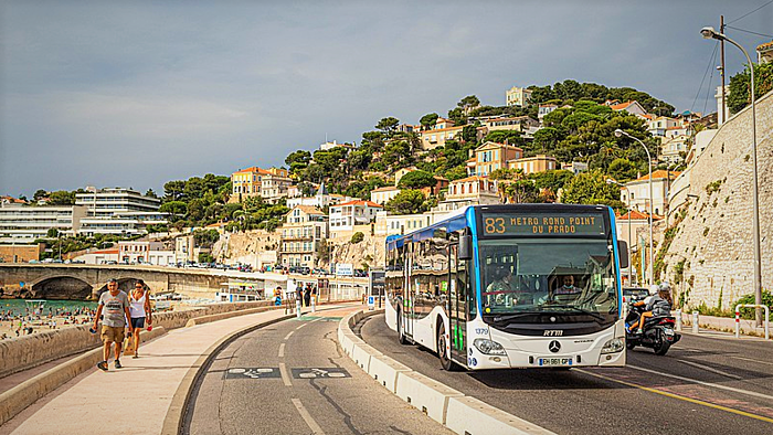 Bus with Marseille in the background