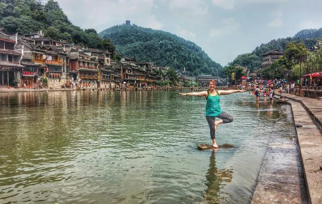 girl in yoga pose in china