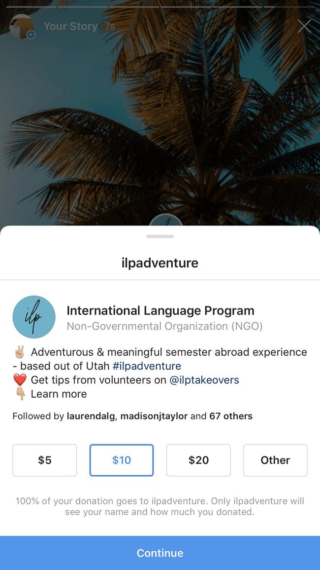 instagram fundraiser