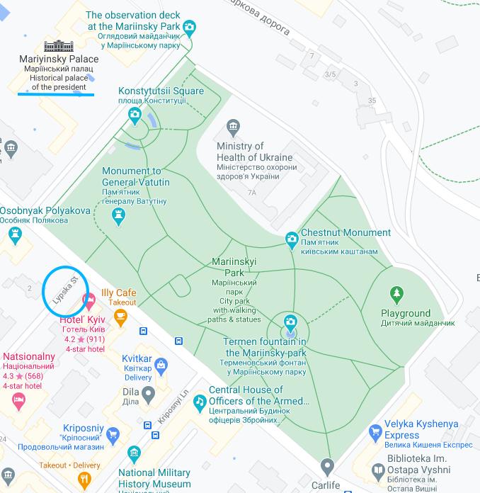 Map of mariyinsky park and palace